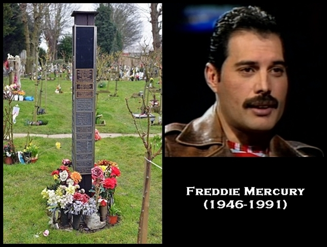 Picture Shows: What is thought to be A memorial plaque to Queen singer FREDDIE MERCURY at Kensal Green Cemetery in West London.
