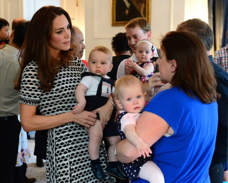 The Duke and Duchess of Cambridge and Prince George attend an event for Plunket nurses and parents with their young children at Government House, as part of their tour of New Zealand and Australia in Wellington, New Zealand, on the 9th April 2014.