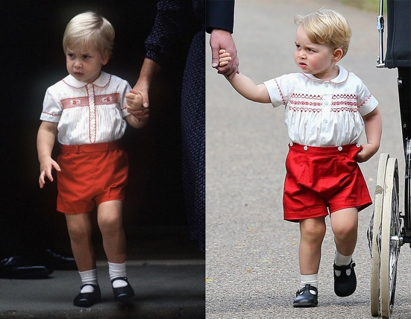 (FILE PHOTO) In this composite image a comparison has been made between Prince William (L) and Prince George wearing similar clothing. ***LEFT IMAGE*** LONDON - SEPTEMBER 16: (FILE PHOTO) Prince William leaves St Mary's Hospital after visiting his newborn brother, Prince Harry, on September 16, 1984 in London, England. (Photo by Anwar Hussein/Getty Images) **RIGHT IMAGE*** KING'S LYNN, ENGLAND - JULY 05: Catherine, Duchess of Cambridge, Prince William, Duke of Cambridge, Princess Charlotte of Cambridge and Prince George of Cambridge arrive at the Church of St Mary Magdalene on the Sandringham Estate for the Christening of Princess Charlotte of Cambridge on July 5, 2015 in King's Lynn, England. (Photo by Chris Jackson/Getty Images)